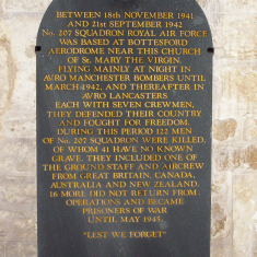 The Memorial plaque to 207 Squadron, RAF, mounted on wall of south transept, St Mary the Virgin parish church, Bottesford. | Neil Fortey