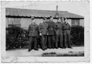 Left to right, their name are: LAC JH Watson, LAC Marks, Cpl Jackson, Cpl Shaw, Sgt Swallow (Johnny) | Our thanks to Sheila Hartley