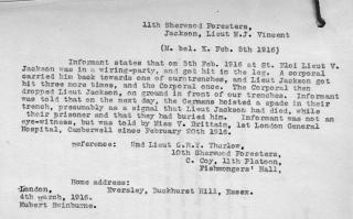 2nd Lieut. Geoffrey Thurlow's report (4th March 1916) concerning the death of Lieut Montagu Vincent-Jackson | National Archive
