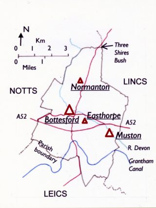 The outline of the Parish of Bottesford and Muston. | Bottesford Local History Archive