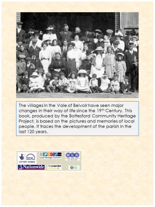 The rear cover of the book, including a image of villagers gathered by a barn in Normanton during the celebrations of the Coronation of King George V in 1911. | Bottesford Local History Archive; the picture was contributed by Mrs Dorothy Beedham