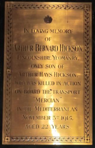 Arthur Bernard Hickson's memorial plaque, Lady Chapel, St Mary's Church, Bottesford | GCHG (DM)