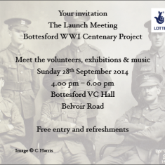Invitation card to Bottesford Parish WW1 Centenary Launch held on Sunday 28th September 2014