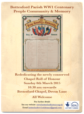 Rededicating the Chapel Roll of Honour 8th March 2015