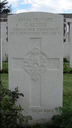 Charles Alliss's war grave, Tyne Cot Cemetery, September 2015   BCHG