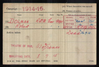 Robert Dolman, Medal Index Card | The National Archive