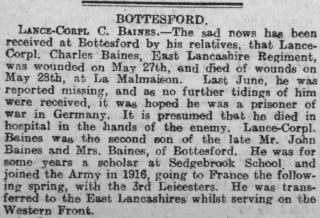 Charles Baines Obituary, Grantham Journal 1/2/1919 | Courstesy of the Grantham Journal