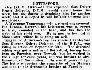 Robert Dolman's Obituary, Grantham Journal, 23rd October, 1915 | Courtesy of the Grantham Journal