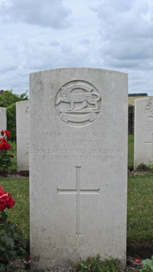 Pte. Fred Darby's CWGC Headstone, Bellicourt British Cemetery, Aisne, France | BCHG