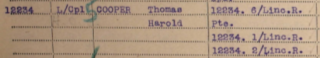 Thomas Harold Cooper's entry in the Medal Roll of the Lincolnshire Regiment, WW1. | National Archive