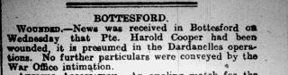 28th August, 1915 Grantham Journal report of Thomas Harold Cooper's injury at Gallipoli. | Courtesy of the Grantham Journal