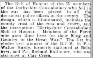 Belper News 13th August 1920: Derbyshire Constabulary 1st World War Roll of Honour - Sgt Walter Hardy DCM | Image © Johnston Press plc. Image created courtesy of THE BRITISH LIBRARY BOARD