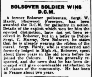 Bolsover Soldier Wins DCM - Sgt. Walter Hardy | Image © Johnston Press plc. Image created courtesy of THE BRITISH LIBRARY BOARD