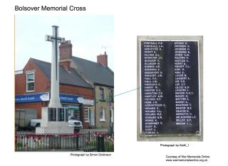 Bolsover Memorial Cross - Walter Hardy | Courtesy of War Memorials Online