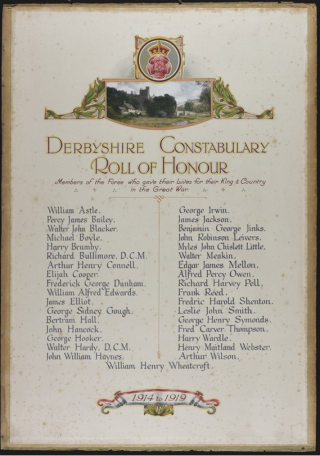 Derbyshire Constabulary Roll of Honour   Courtesy of the Derbyshire Record Office