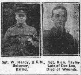 The Courier, Saturday 11th May 1918 - Derbyshire Roll of Honour - Sgt. Walter Hardy DCM | Image © Johnston Press plc. Image created courtesy of THE BRITISH LIBRARY BOARD