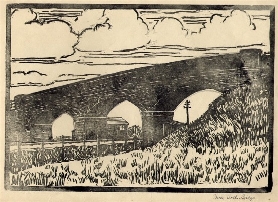 The former Three-Arch-Bridge, a linocut made in about 1936. | Bottesford Local History Society Archive
