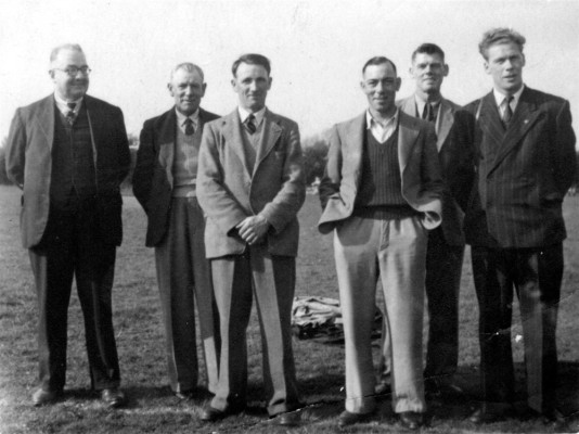 Six village men at the cricket field | Collection of Jill Bagnall