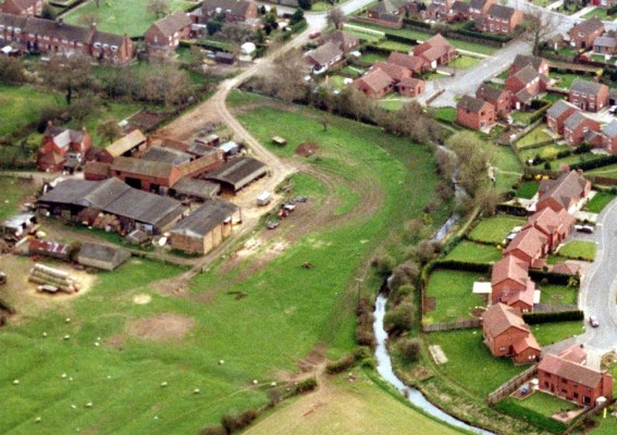 Aeriel picture showing Devon Farm and part of the Riverside Walk estate