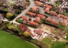 Aerial picture of Rectory Farm and the end of Pinfold Lane