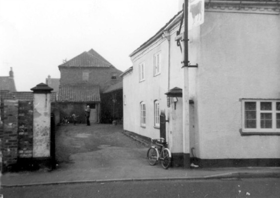 The Bull yard, showing part of the old market roof and a rear extension of the malthouse