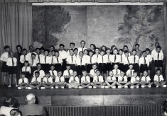 Scouts line up on stage at a Gang Show