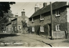 An old postcard showing cottages at the end of Church Street