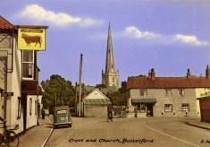 Postcard of Market Place and Bull inn-sign