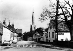 old postcard of Bottesford Church Street