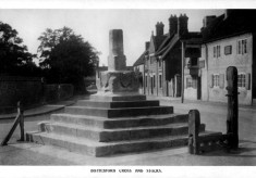 old postcard of Bottesford Market Cross and Stocks