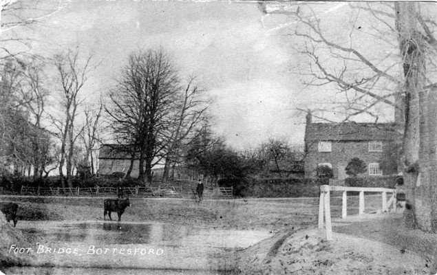 old postcard of Bottesford, Normanton Lane ford