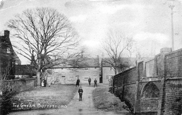 old postcard of Bottesford, the ford at The Green