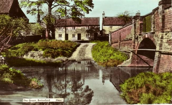 Colour postcard of the Devon Lane (The Green) ford