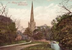 Colour postcard church and ford