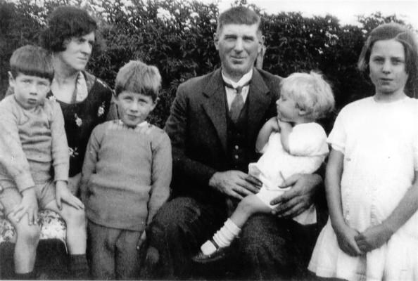 Bateson family group in garden