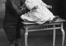 Studio photo of two young children