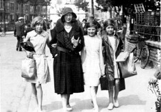 Woman and girls strolling through Skegness