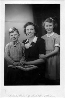 Studio portrait of Mrs Ingrid Sellers with Richard and Brenda