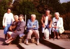 Village folk in a garden at Skegness