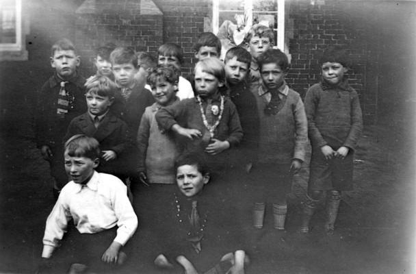 group of boys in the village school yard