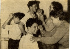 newspaper picture of Scouts rehearsing for a show