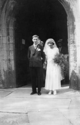 wedding, couple emerging from west door of church