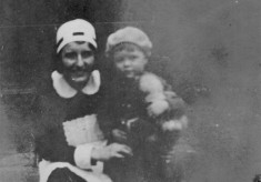 Mary Topps with child at Muston Rectory