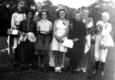 Girl Guides dressed up for a theatrical performance