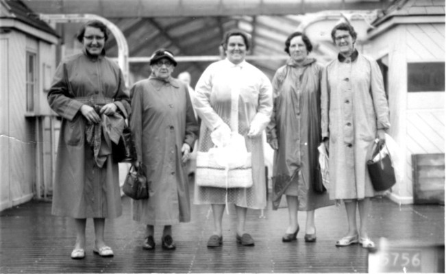 Bottesford ladies in the rain at the seaside