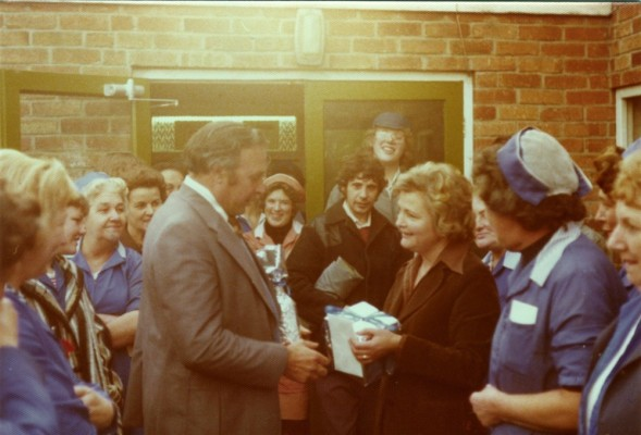 A presentation by the staff to the manager of the Bottesford factory