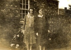 Mary and Margaret Topps in the garden at Muston Rectory