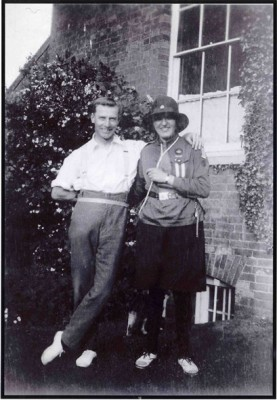 Mary Topps is senior Guides uniform, with Arthur the gardener at Muston Rectory