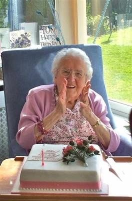 Mrs Mary Topps enjoying her 100th birthday celebration