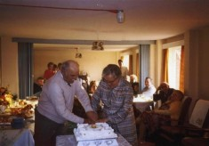 Mary and Frank Topps at their golden wedding celebration, 1984